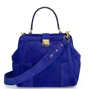 J crew telegram suede satchel in blue